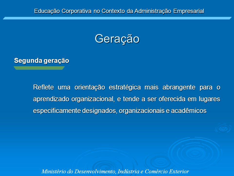 Ministério do Desenvolvimento, Indústria e Comércio Exterior Segunda geração Reflete uma orientação estratégica mais abrangente para o aprendizado org