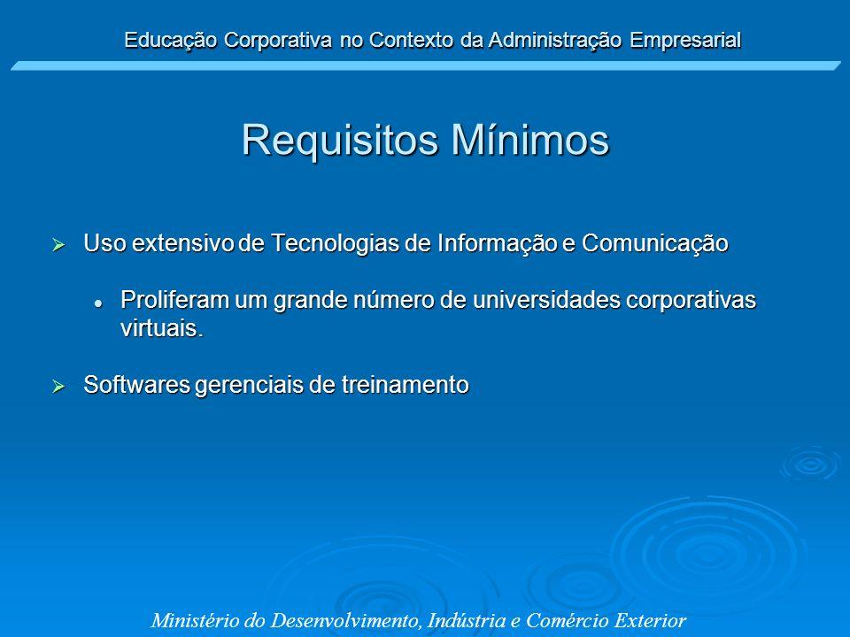 Educação Corporativa no Contexto da Administração Empresarial Ministério do Desenvolvimento, Indústria e Comércio Exterior Uso extensivo de Tecnologia