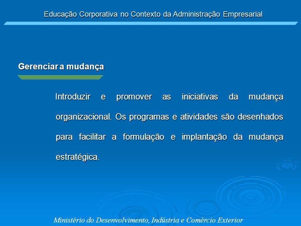 Educação Corporativa no Contexto da Administração Empresarial Ministério do Desenvolvimento, Indústria e Comércio Exterior Gerenciar a mudança Introdu