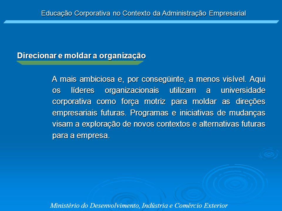 Educação Corporativa no Contexto da Administração Empresarial Ministério do Desenvolvimento, Indústria e Comércio Exterior Direcionar e moldar a organ