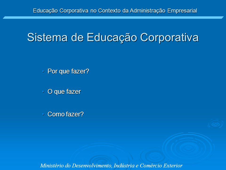 Educação Corporativa no Contexto da Administração Empresarial Ministério do Desenvolvimento, Indústria e Comércio Exterior Por que fazer?Por que fazer
