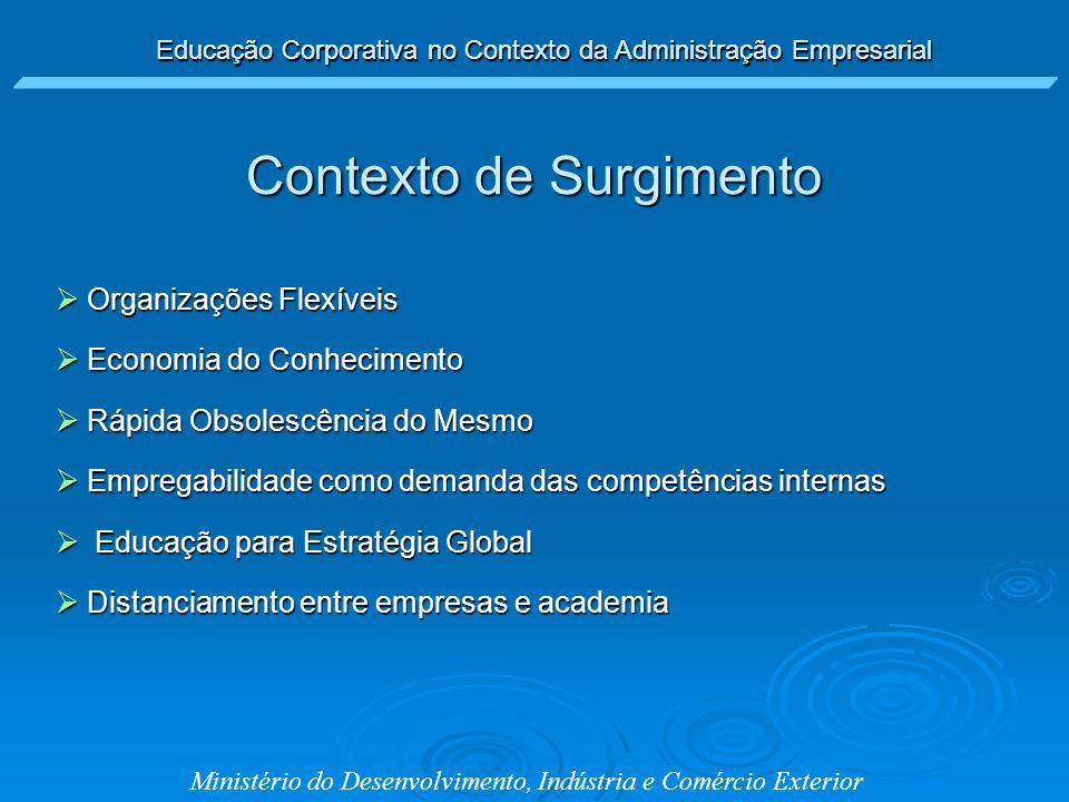 Educação Corporativa no Contexto da Administração Empresarial Ministério do Desenvolvimento, Indústria e Comércio Exterior Contexto de Surgimento Orga