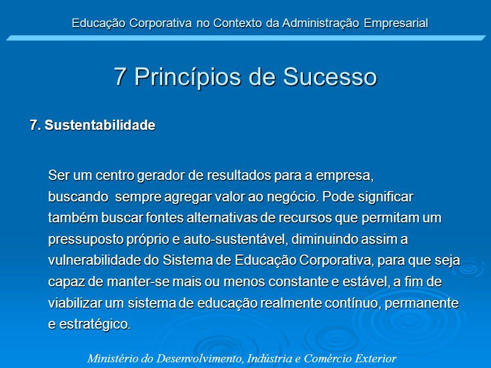 Educação Corporativa no Contexto da Administração Empresarial Ministério do Desenvolvimento, Indústria e Comércio Exterior 7 Princípios de Sucesso 7.