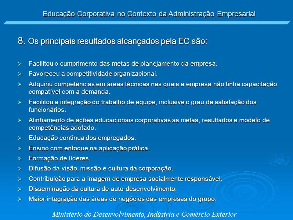 Educação Corporativa no Contexto da Administração Empresarial Ministério do Desenvolvimento, Indústria e Comércio Exterior 8. Os principais resultados