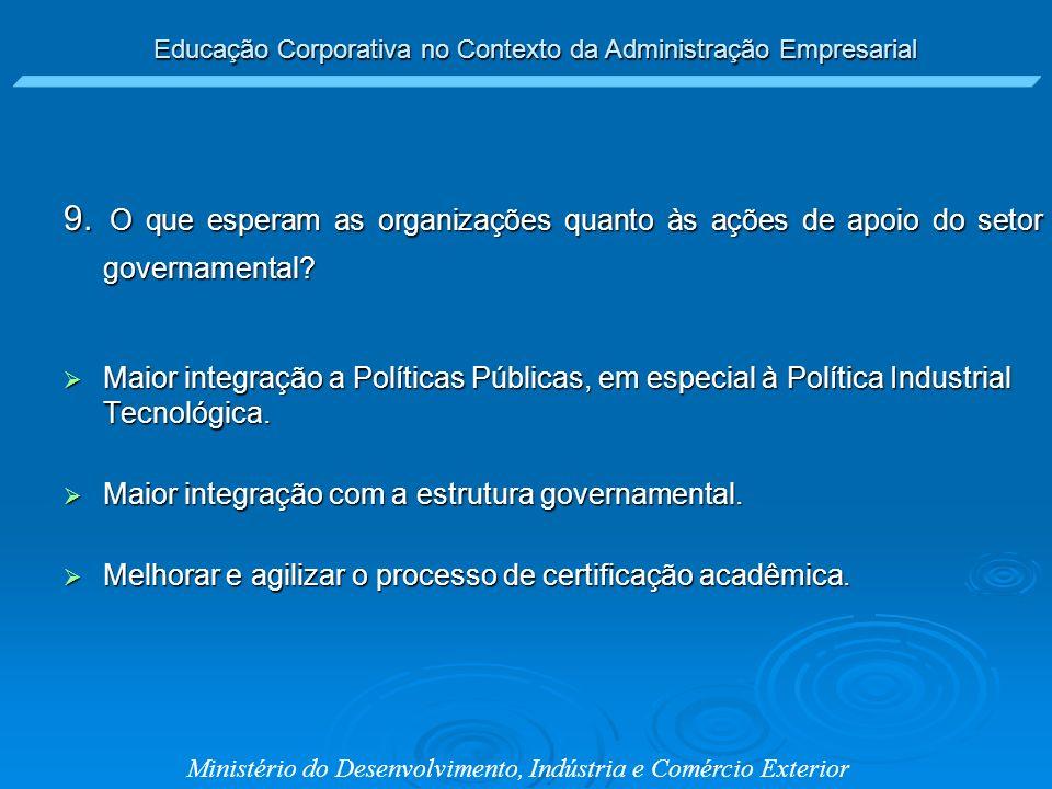 Educação Corporativa no Contexto da Administração Empresarial Ministério do Desenvolvimento, Indústria e Comércio Exterior 9. O que esperam as organiz