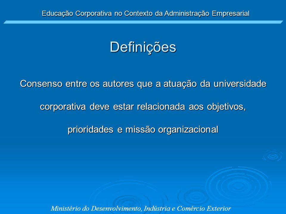Ministério do Desenvolvimento, Indústria e Comércio Exterior Consenso entre os autores que a atuação da universidade corporativa deve estar relacionad