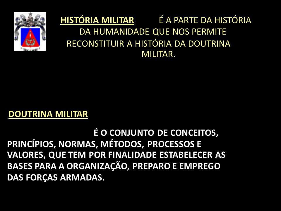HISTÓRIA MILITAR É A PARTE DA HISTÓRIA DA HUMANIDADE QUE NOS PERMITE RECONSTITUIR A HISTÓRIA DA DOUTRINA MILITAR. DOUTRINA MILITAR É O CONJUNTO DE CON