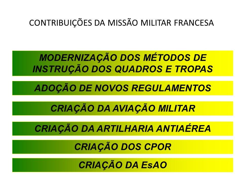CONTRIBUIÇÕES DA MISSÃO MILITAR FRANCESA MODERNIZAÇÃO DOS MÉTODOS DE INSTRUÇÃO DOS QUADROS E TROPAS ADOÇÃO DE NOVOS REGULAMENTOS CRIAÇÃO DA AVIAÇÃO MI