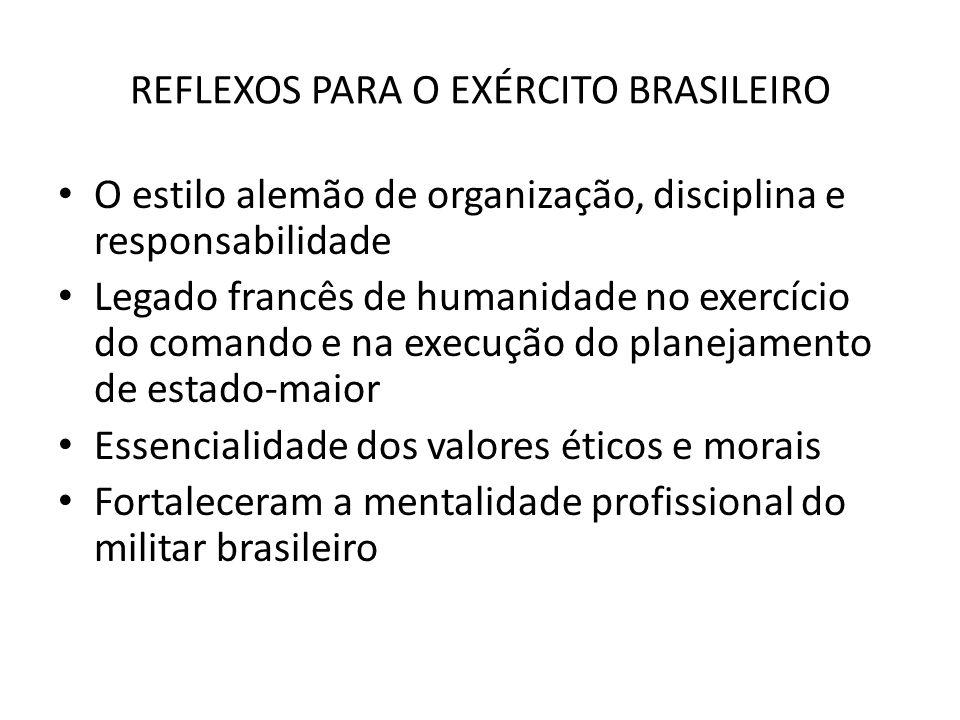 REFLEXOS PARA O EXÉRCITO BRASILEIRO O estilo alemão de organização, disciplina e responsabilidade Legado francês de humanidade no exercício do comando