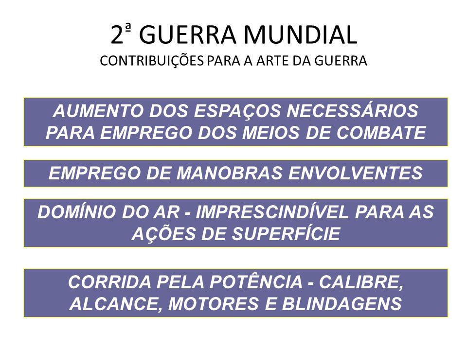 2 ª GUERRA MUNDIAL CONTRIBUIÇÕES PARA A ARTE DA GUERRA AUMENTO DOS ESPAÇOS NECESSÁRIOS PARA EMPREGO DOS MEIOS DE COMBATE DOMÍNIO DO AR - IMPRESCINDÍVE