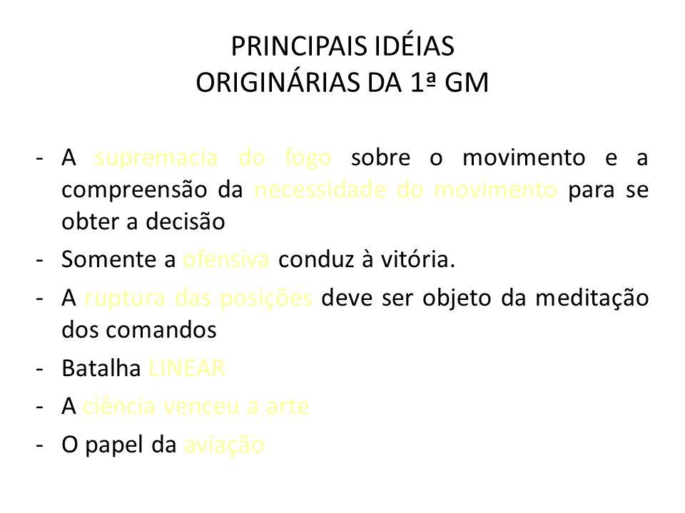 PRINCIPAIS IDÉIAS ORIGINÁRIAS DA 1ª GM -A supremacia do fogo sobre o movimento e a compreensão da necessidade do movimento para se obter a decisão -So