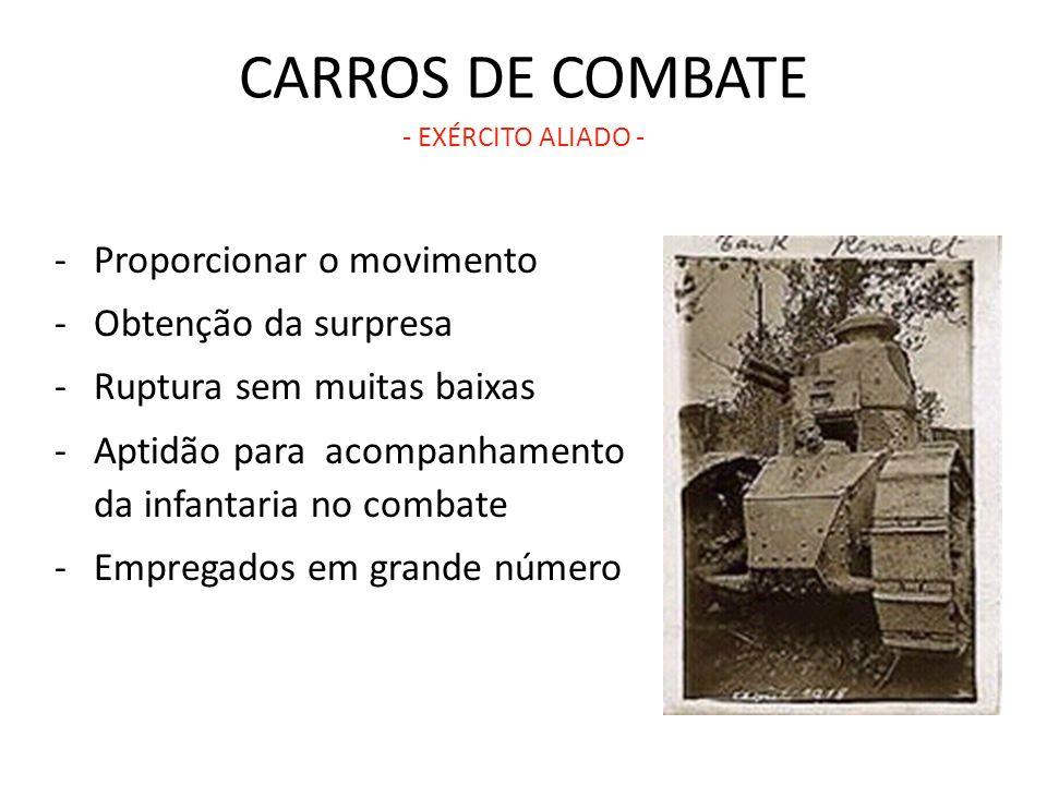 CARROS DE COMBATE - EXÉRCITO ALIADO - -Proporcionar o movimento -Obtenção da surpresa -Ruptura sem muitas baixas -Aptidão para acompanhamento da infan