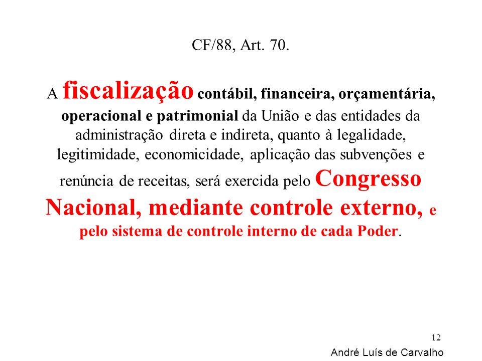 CF/88, Art. 70. A fiscalização contábil, financeira, orçamentária, operacional e patrimonial da União e das entidades da administração direta e indire