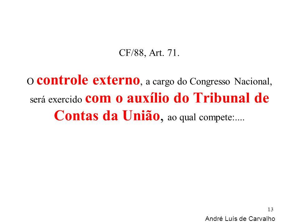 CF/88, Art. 71. O controle externo, a cargo do Congresso Nacional, será exercido com o auxílio do Tribunal de Contas da União, ao qual compete:.... An