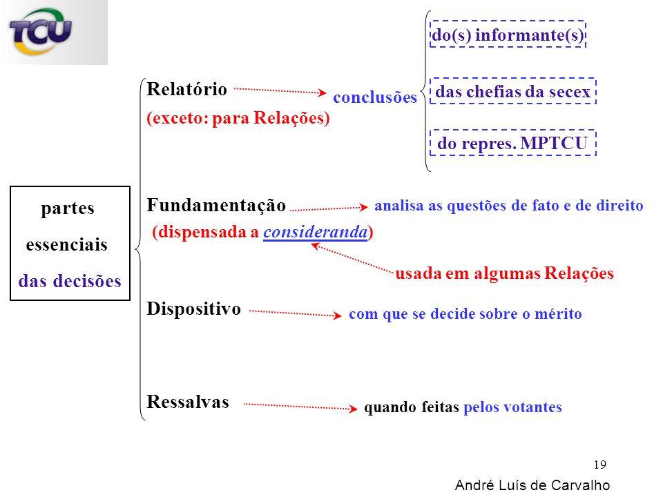 partes essenciais das decisões Relatório Fundamentação Dispositivo Ressalvas conclusões André Luís de Carvalho analisa as questões de fato e de direit