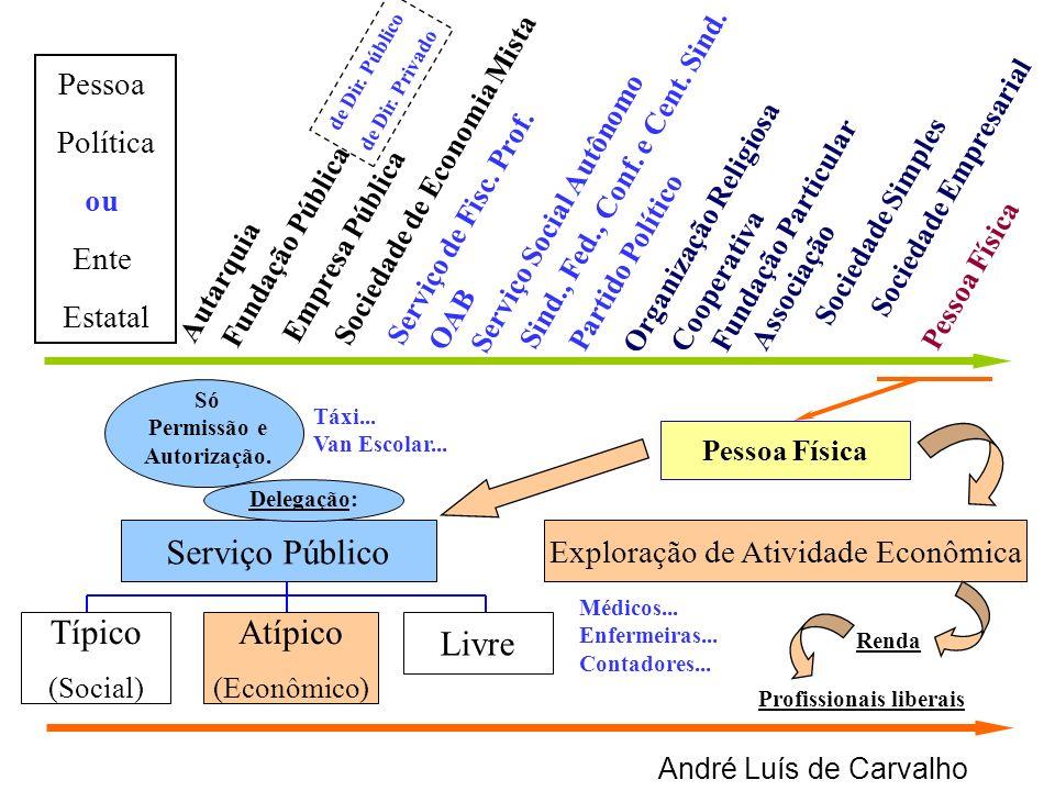 André Luís de Carvalho Exploração de Atividade Econômica Típico (Social) Atípico (Econômico) Livre Autarquia Empresa Pública Sociedade de Economia Mis
