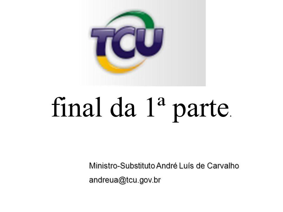 Ministro-Substituto André Luís de Carvalho andreua@tcu.gov.br final da 1ª parte.