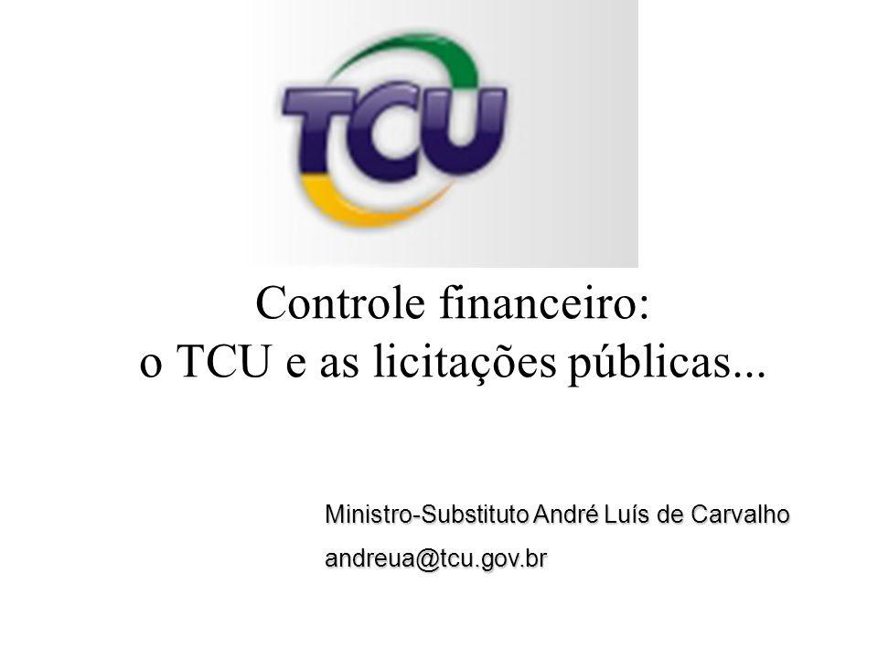 Ministro-Substituto André Luís de Carvalho andreua@tcu.gov.br Controle financeiro: o TCU e as licitações públicas...