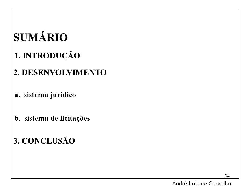SUMÁRIO 2. DESENVOLVIMENTO 3. CONCLUSÃO André Luís de Carvalho 54 1. INTRODUÇÃO a. sistema jurídico b. sistema de licitações
