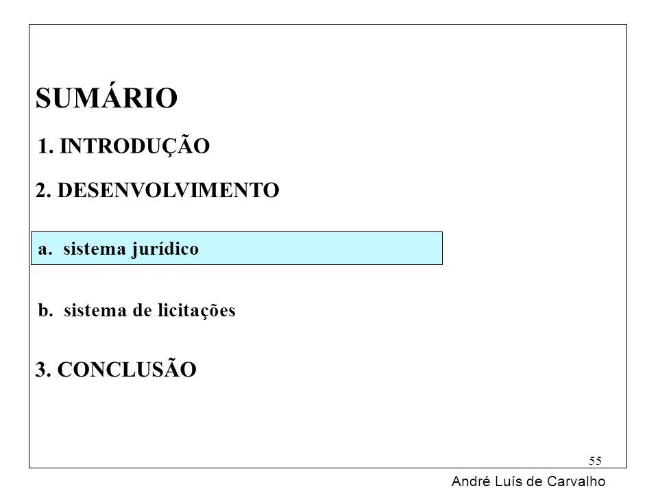 SUMÁRIO 2. DESENVOLVIMENTO 3. CONCLUSÃO André Luís de Carvalho 55 1. INTRODUÇÃO a. sistema jurídico b. sistema de licitações