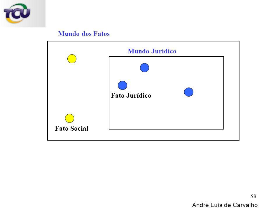 Mundo dos Fatos Mundo Jurídico Fato Social Fato Jurídico André Luís de Carvalho 58