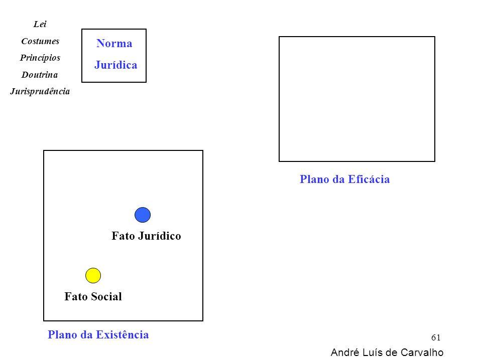 Plano da Existência Norma Jurídica Fato Social Fato Jurídico Lei Costumes Princípios Doutrina Jurisprudência Plano da Eficácia André Luís de Carvalho