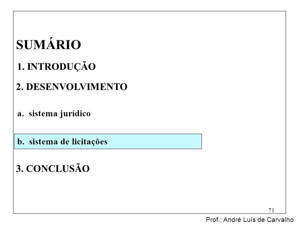 SUMÁRIO 2. DESENVOLVIMENTO 3. CONCLUSÃO Prof.: André Luís de Carvalho 71 1. INTRODUÇÃO a. sistema jurídico b. sistema de licitações