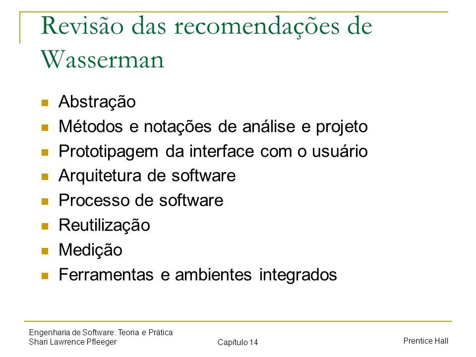 Prentice Hall Engenharia de Software: Teoria e Prática Shari Lawrence Pfleeger Capítulo 14 Revisão das recomendações de Wasserman Abstração Métodos e