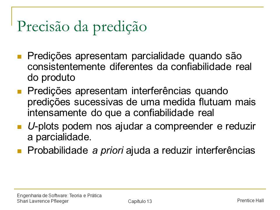 Prentice Hall Engenharia de Software: Teoria e Prática Shari Lawrence Pfleeger Capítulo 13 Precisão da predição Predições apresentam parcialidade quan
