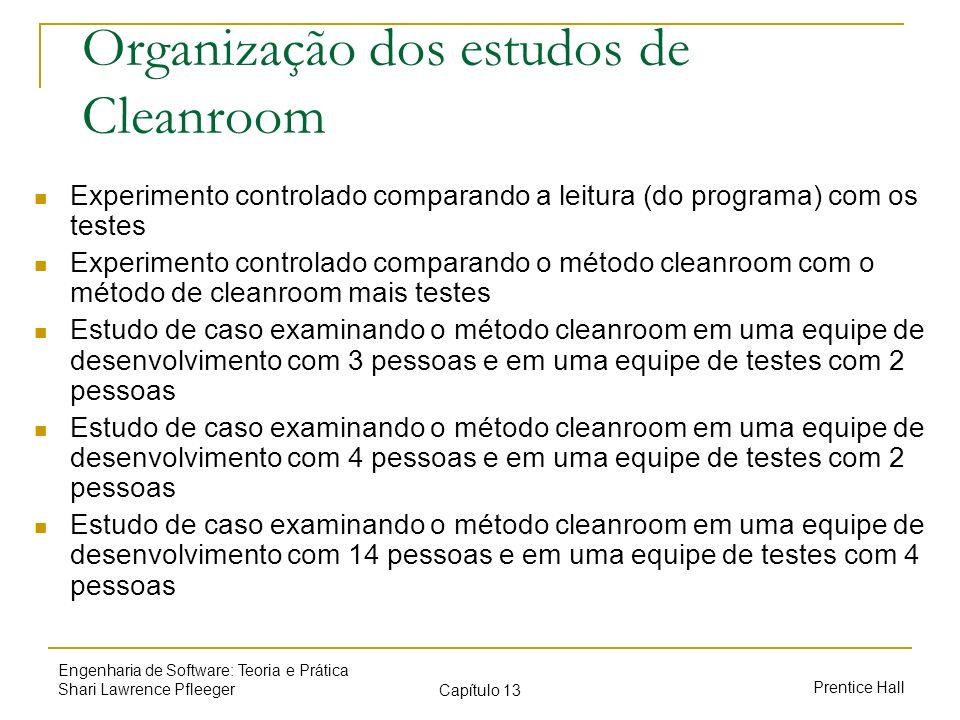 Prentice Hall Engenharia de Software: Teoria e Prática Shari Lawrence Pfleeger Capítulo 13 Organização dos estudos de Cleanroom Experimento controlado