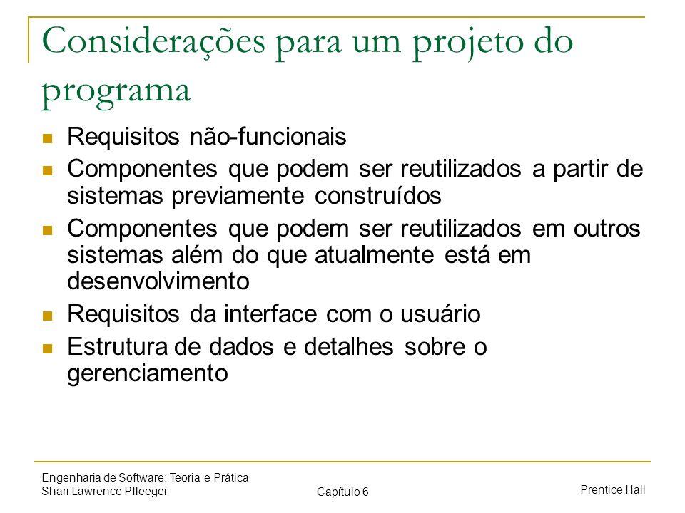 Prentice Hall Engenharia de Software: Teoria e Prática Shari Lawrence Pfleeger Capítulo 6 Considerações para um projeto do programa Requisitos não-fun