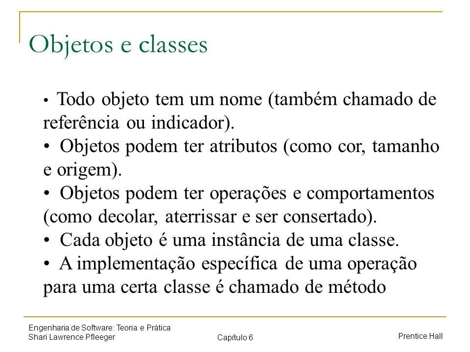Prentice Hall Engenharia de Software: Teoria e Prática Shari Lawrence Pfleeger Capítulo 6 Objetos e classes Todo objeto tem um nome (também chamado de