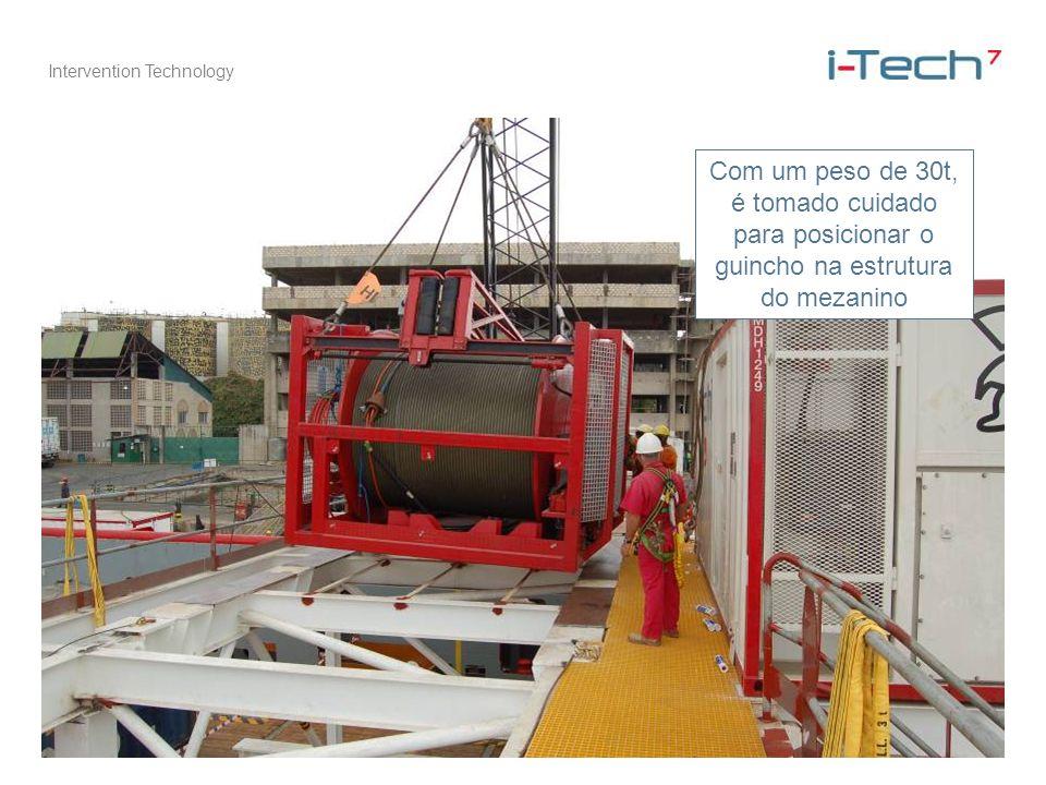 Intervention Technology Com um peso de 30t, é tomado cuidado para posicionar o guincho na estrutura do mezanino