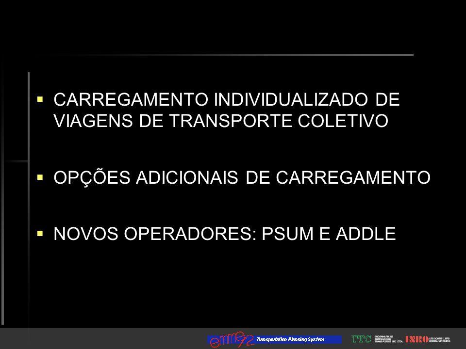 CARREGAMENTO INDIVIDUALIZADO DE VIAGENS DE TRANSPORTE COLETIVO OPÇÕES ADICIONAIS DE CARREGAMENTO NOVOS OPERADORES: PSUM E ADDLE