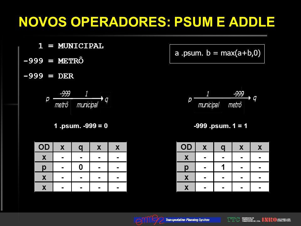 NOVOS OPERADORES: PSUM E ADDLE 1 = MUNICIPAL -999 = METRÔ -999 = DER ODxqxx x - - - - p - 1 - - x - - - - x - - - - xqxx x - - - - p - 0 - - x - - - - x - - - - -999.psum.