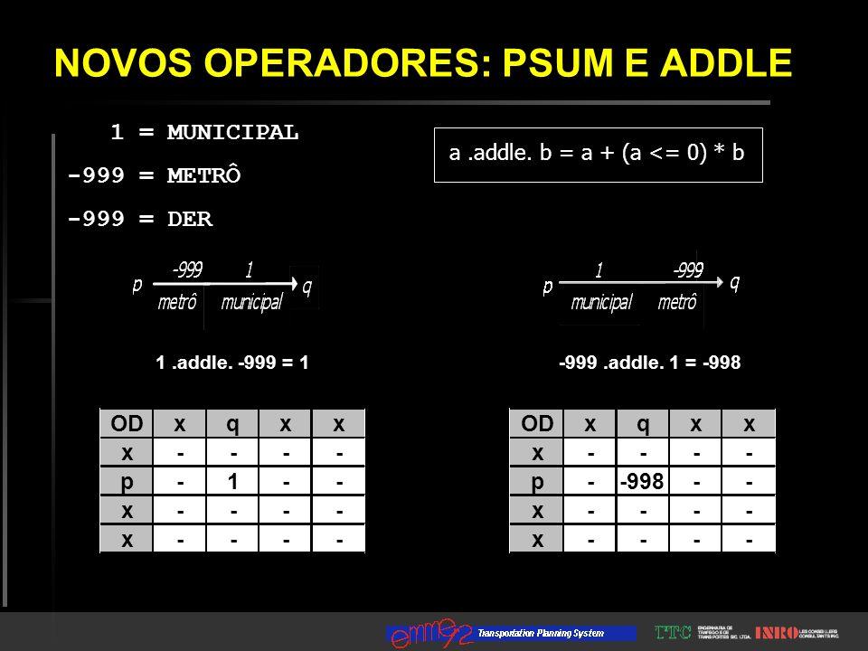 NOVOS OPERADORES: PSUM E ADDLE 1 = MUNICIPAL -999 = METRÔ -999 = DER ODxqxx x - - - - p - -998 - - x - - - - x - - - - ODxqxx x - - - - p - 1 - - x - - - - x - - - - -999.addle.