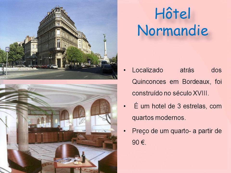 Hôtel Normandie Localizado atrás dos Quinconces em Bordeaux, foi construído no século XVIII. É um hotel de 3 estrelas, com quartos modernos. Preço de