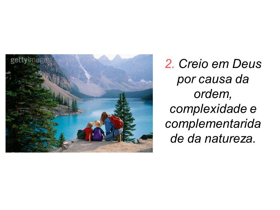 2. Creio em Deus por causa da ordem, complexidade e complementarida de da natureza.