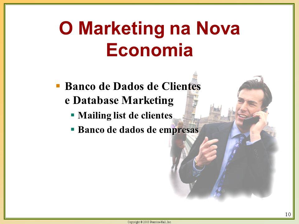 Copyright © 2003 Prentice-Hall, Inc. 10 Banco de Dados de Clientes e Database Marketing Banco de Dados de Clientes e Database Marketing Mailing list d