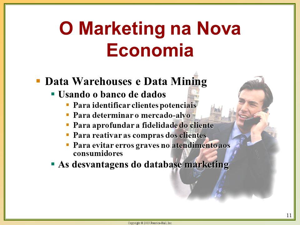 Copyright © 2003 Prentice-Hall, Inc. 11 Data Warehouses e Data Mining Data Warehouses e Data Mining Usando o banco de dados Usando o banco de dados Pa