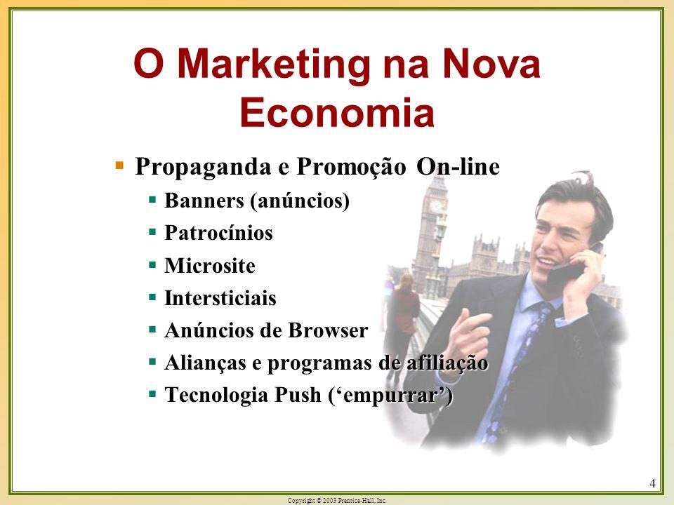 Copyright © 2003 Prentice-Hall, Inc. 4 Propaganda e Promoção On-line Propaganda e Promoção On-line Banners (anúncios) Banners (anúncios) Patrocínios P