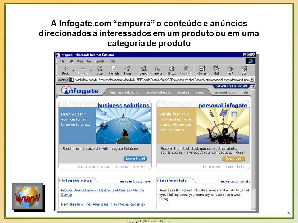 Copyright © 2003 Prentice-Hall, Inc. 5 A Infogate.com empurra o conteúdo e anúncios direcionados a interessados em um produto ou em uma categoria de p