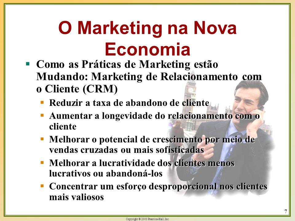 Copyright © 2003 Prentice-Hall, Inc. 7 Como as Práticas de Marketing estão Mudando: Marketing de Relacionamento com o Cliente (CRM) Como as Práticas d