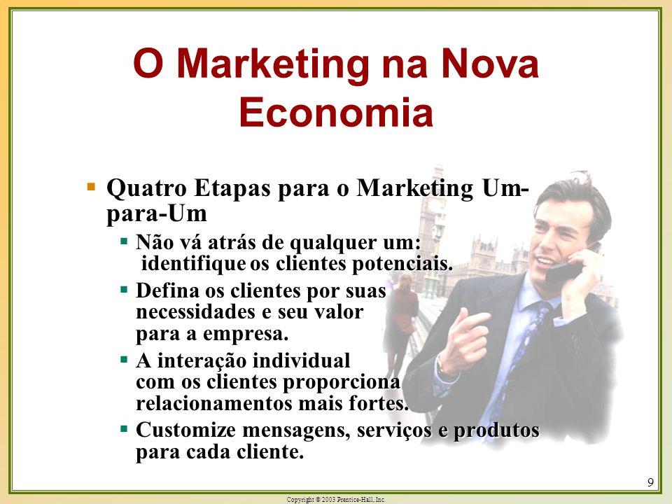 Copyright © 2003 Prentice-Hall, Inc. 9 Quatro Etapas para o Marketing Um- para-Um Quatro Etapas para o Marketing Um- para-Um Não vá atrás de qualquer