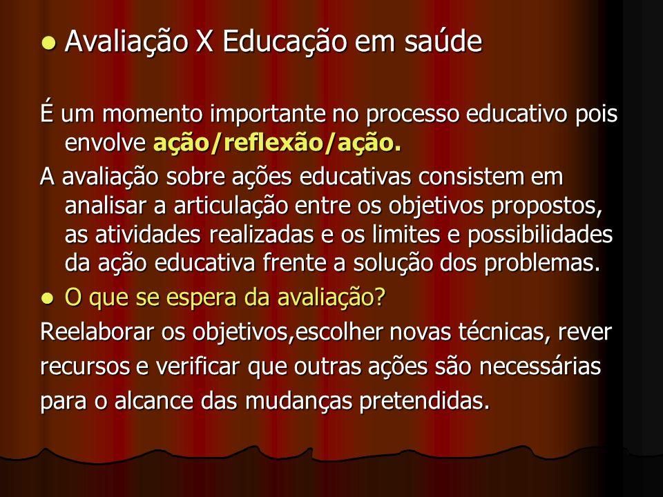 Avaliação X Educação em saúde Avaliação X Educação em saúde É um momento importante no processo educativo pois envolve ação/reflexão/ação. A avaliação