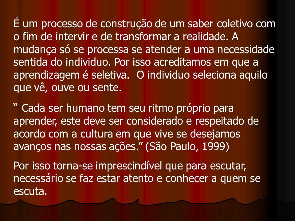 É um processo de construção de um saber coletivo com o fim de intervir e de transformar a realidade.