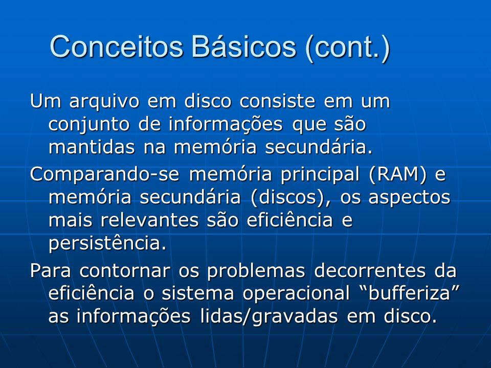 Conceitos Básicos(cont.) Em C os arquivos podem ser vistos/tratados de 2 maneiras: em modo texto (uma sequência de caracteres) ou binário(uma sequência de bytes).