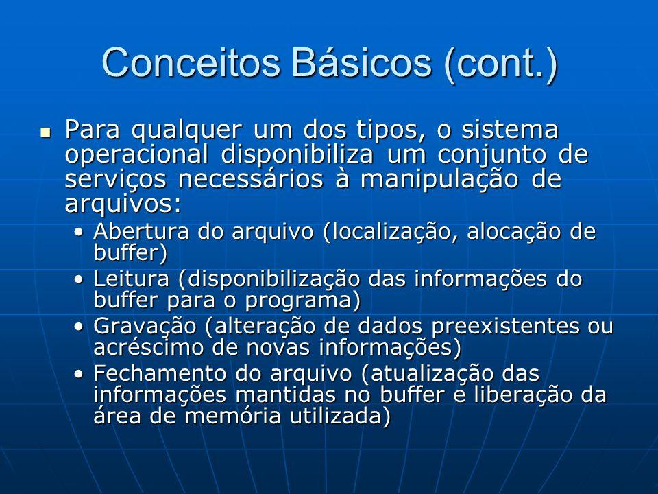 Conceitos Básicos (cont.) Para qualquer um dos tipos, o sistema operacional disponibiliza um conjunto de serviços necessários à manipulação de arquivo