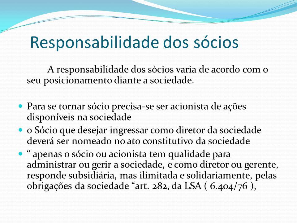 Responsabilidade dos sócios A responsabilidade dos sócios varia de acordo com o seu posicionamento diante a sociedade. Para se tornar sócio precisa-se