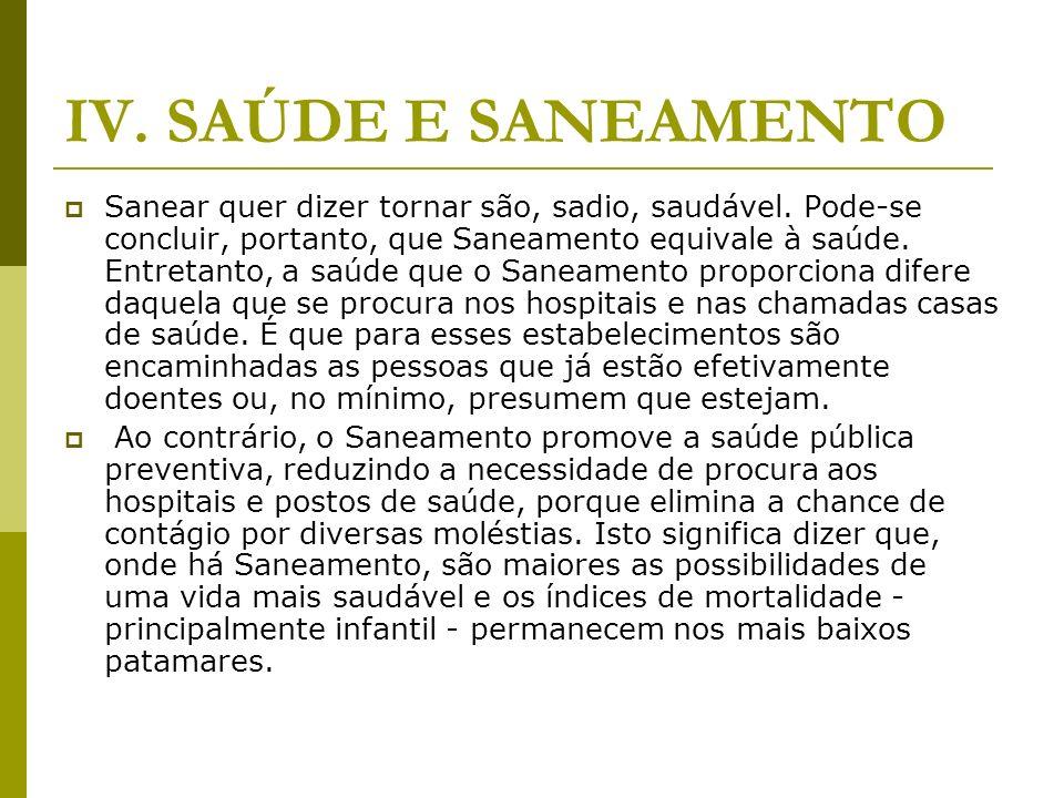 IV. SAÚDE E SANEAMENTO Sanear quer dizer tornar são, sadio, saudável. Pode-se concluir, portanto, que Saneamento equivale à saúde. Entretanto, a saúde